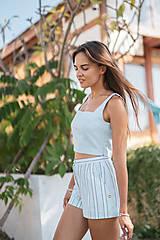 Nohavice - Pruhované šortky (40 fialová) - 10843318_