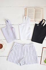 Nohavice - Pruhované šortky (40 fialová) - 10843323_