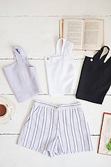 Nohavice - Pruhované šortky (42 modrá) - 10843323_