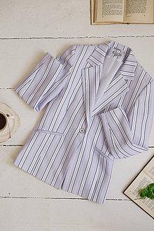 Kabáty - Pruhované sako bledo fialové - 10842080_