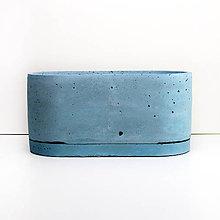 Nádoby - Ovalny betonovy kvetinac - modry - 10841447_