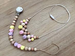 """Detské doplnky - Set retiazka na cumlík + náhrdelník """"Pastel Hexagon"""" - 10842441_"""