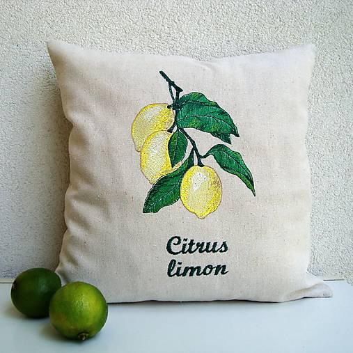 Ľanová obliečka na vankúš Citrónovník pravý/Citrus limon