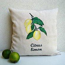 Úžitkový textil - Ľanová obliečka na vankúš Citrónovník pravý/Citrus limon - 10842065_