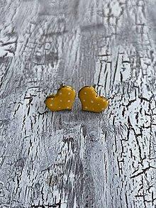 Náušnice - maľované bodkované srdiečka (PiDi žlté) - 10841505_