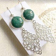 Náušnice - Green Jasper Filigree Dangle Earrings / Náušnice zelený jaspis, filigrány - 10844104_
