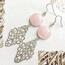 Náušnice - Rose Qaurtz Filigree Dangle Earrings / Náušnice ruženín, filigrány - 10844163_