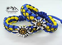 Náramky - Paracord náramok - Plesnivec žlto-modrý - 10844107_