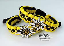 Náramky - Paracord náramok - Plesnivec žlto-čierny - 10844137_