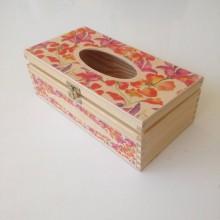 Krabičky - Krabička na vreckovky s akvarelovými kvetmi - 10843634_