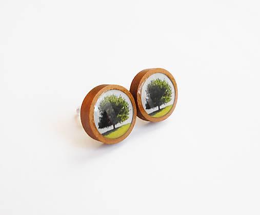 Drevené živicové náušnice - Zelený strom