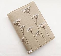 Papiernictvo - Obal na knihu - Kvitnúca tráva (natur 100% ľan) - 10844750_