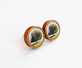 Náušnice - Drevené živicové náušnice - Zelený strom - 10844865_