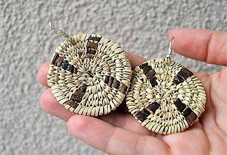 Náušnice - Egyptské pletené náušnice (čierne) - 10844069_