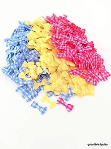 Galantéria - mašličky textilné kockované 8x16mm (Modrá) - 10845636_