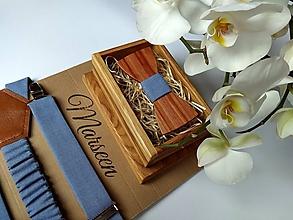 Doplnky - Pánsky set - drevený motýlik a traky - 10844408_