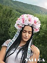 Ružová kvetinová parta - folklórna