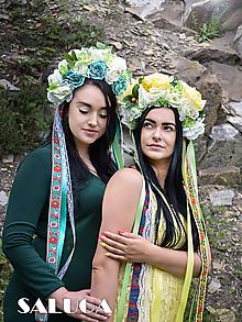 Ozdoby do vlasov - Žltá kvetinová parta - folklórna - ľudová - 10844378_