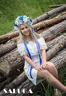 Ozdoby do vlasov - Modrá kvetinová parta - folklórna - 10844685_