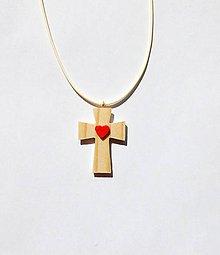 Náhrdelníky - Drevený náhrdelník - Krížik - Darovaný - 10845323_