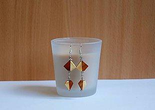 Náušnice - Drevené vysiace náušnice - drevené diamanty predané - 10845518_