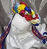 Ozdoby do vlasov - Svadobná folklórna kvetinová parta so stužkami - 10844424_