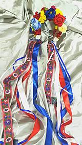 Ozdoby do vlasov - Svadobná folklórna kvetinová parta so stužkami - 10844425_