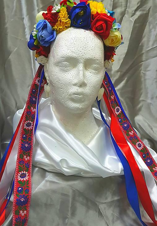 Svadobná folklórna kvetinová parta so stužkami