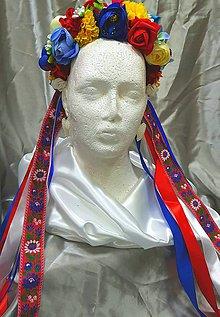Ozdoby do vlasov - Svadobná folklórna kvetinová parta so stužkami - 10844422_