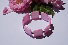 Náramky - Perleťové štvorce ružové - 10845428_