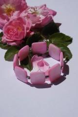 Náramky - Perleťové štvorce ružové - 10845430_