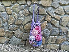 Nákupné tašky - Melírovaná háčkovaná sieťovka - fialová - 10844704_