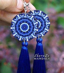 Náušnice - Mandala modrá - 10845403_
