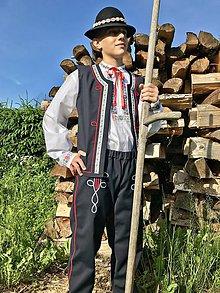 Oblečenie - Pánsky folklórny komplet tmavomodrý s vestou - 10845012_