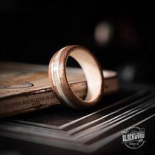 Prstene - drevená obrúčka - parožie / orech / striebro - 10845489_