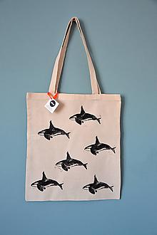 Iné tašky - Plátená taška, veľryby (Kosatky) - 10844277_