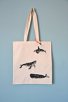 Iné tašky - Plátená taška, veľryby (Tri veľryby 1) - 10844297_