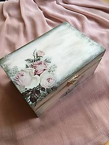 Krabičky - Drevená truhlica - staroružová - 10843779_