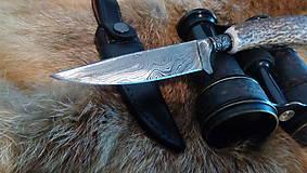Nože - Damaskový lovecký nôž - 10844329_