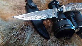 Nože - Damaskový lovecký nôž - 10844330_