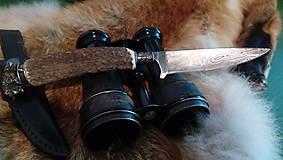Nože - Damaskový lovecký nôž - 10844331_