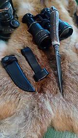 Nože - Damaskový lovecký nôž - 10844349_