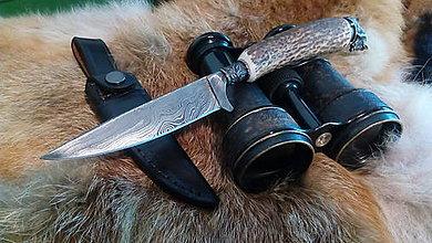 Nože - Damaskový lovecký nôž - 10844328_