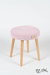 Dekorácie - Taburetka Ø30, baby pink - 10845832_