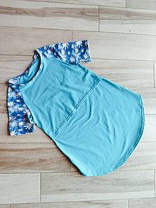 Tričká - Kojo tričká SKLADOM (Tyrkysové s kvetmi na rukávoch) - 10843918_