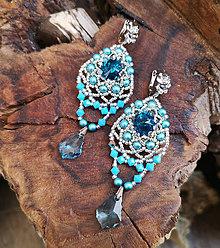Náušnice - Náušnice modro-strieborné Swarovski, mosadz - 10845495_