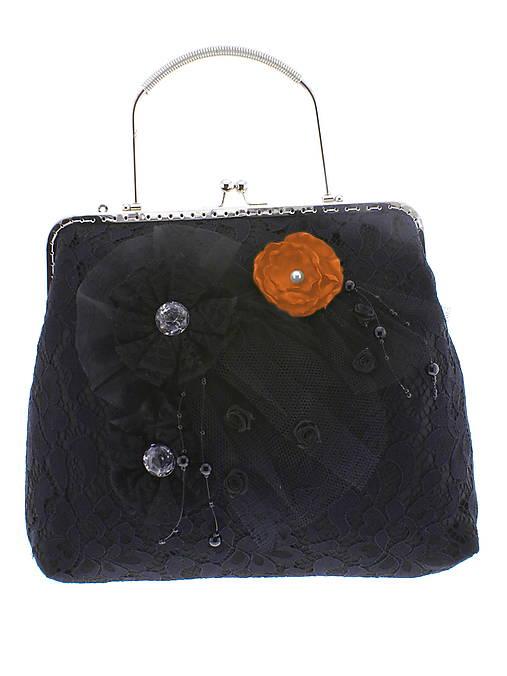 spoločenská dámska kabelka čipkovaná čierna, burleskní kabelka, gothic kabelka X4