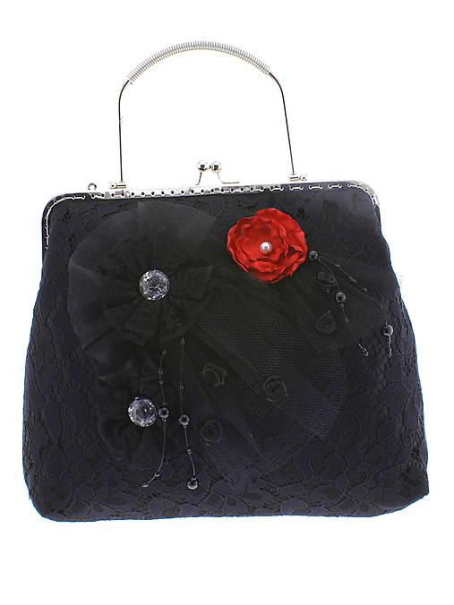 spoločenská dámska kabelka čipkovaná čierna, burleskní kabelka, gothic kabelka X6