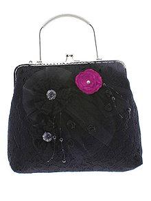 Kabelky - spoločenská dámska kabelka čipkovaná čierna, burleskní kabelka, gothic kabelka X1 - 10847620_