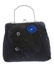 Kabelky - spoločenská dámska kabelka čipkovaná čierna, burleskní kabelka, gothic kabelka X2 - 10847643_